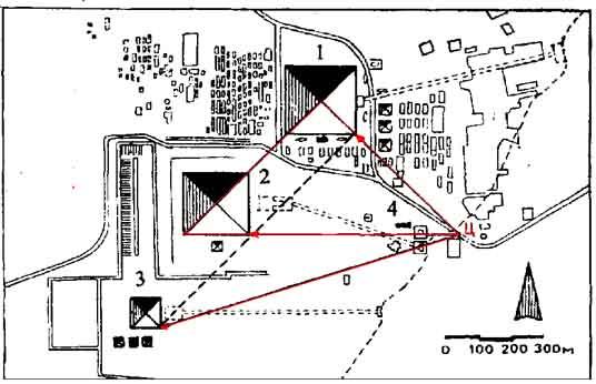 план пирамид в Гизе.